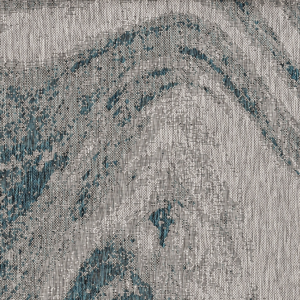 Teal Waves Indoor-Outdoor Area Rug close up pattern