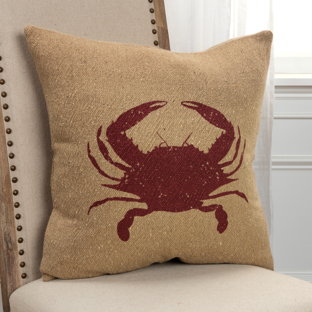 Printed Crab Burlap 20 x 20 Pillow on chair