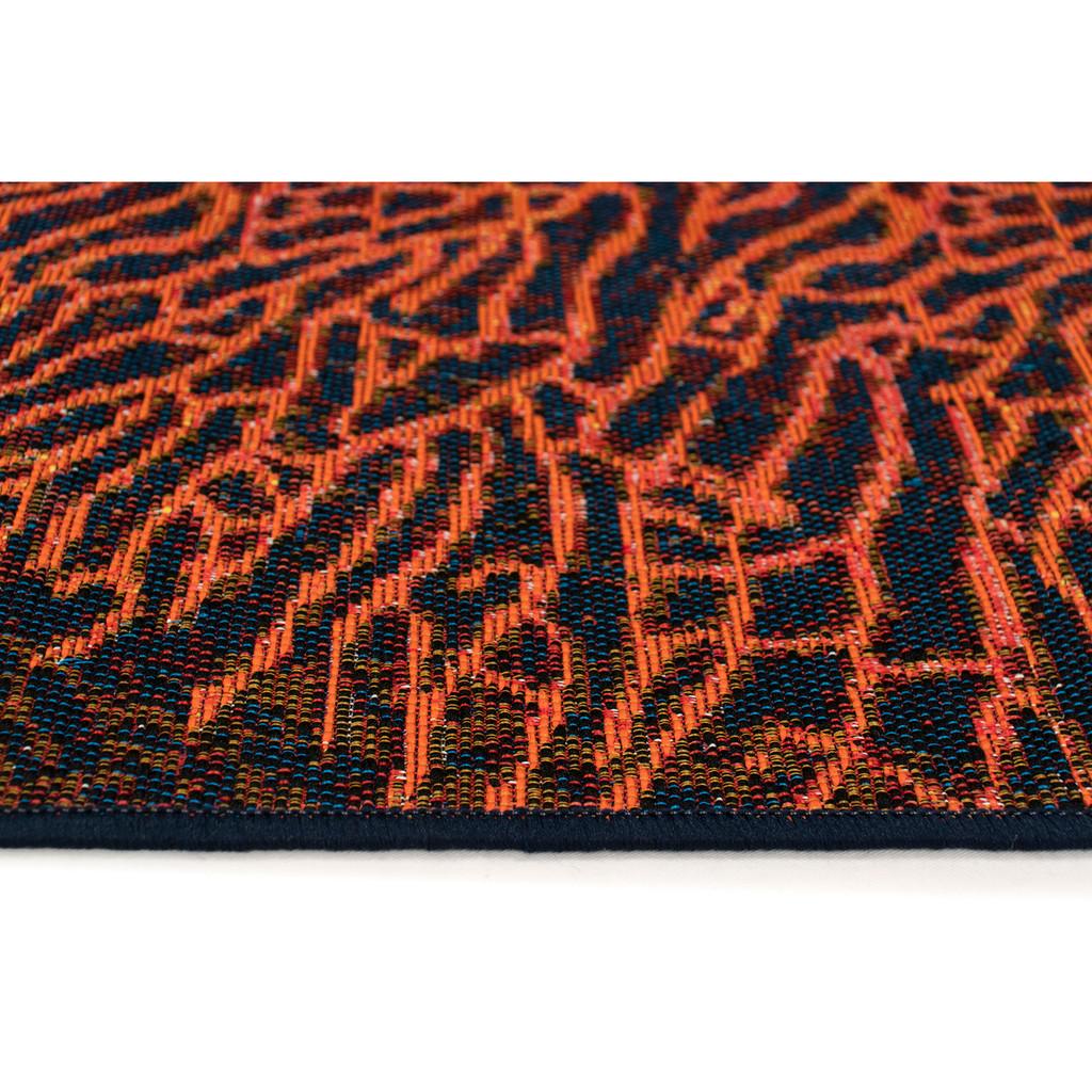 Coral Ocean Indoor-Outdoor Area Rug edge close up
