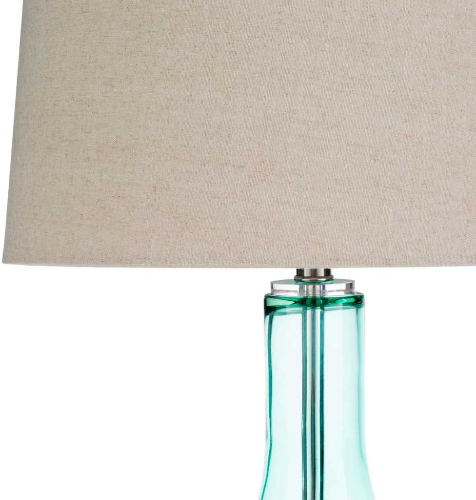 Easton Pale Blue Glass Table Lamp close up shade and base