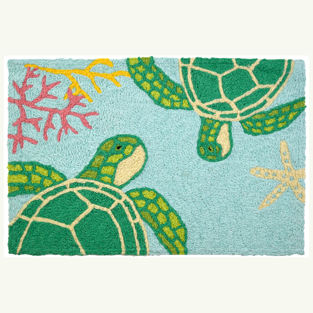 Floating Sea Turtles Accent Rug