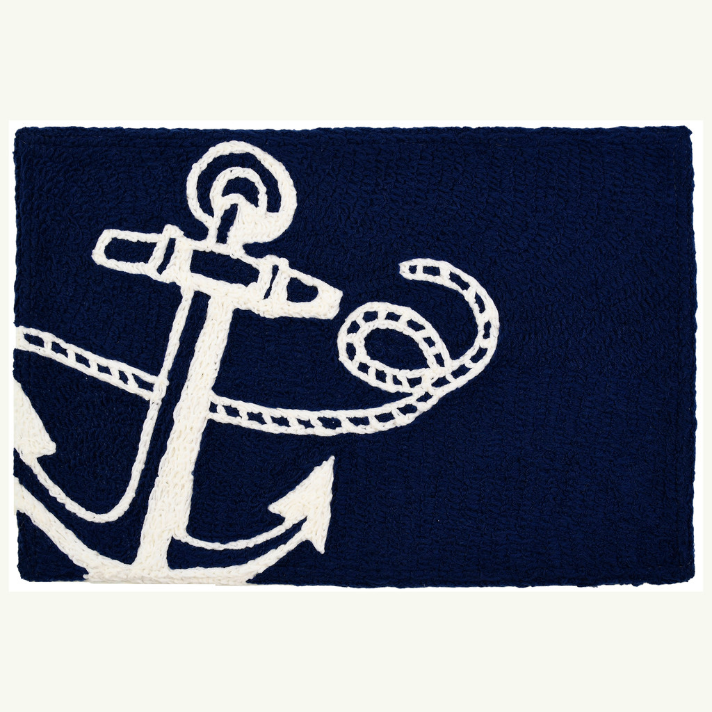 Navy Anchor Nautical Accent Rug