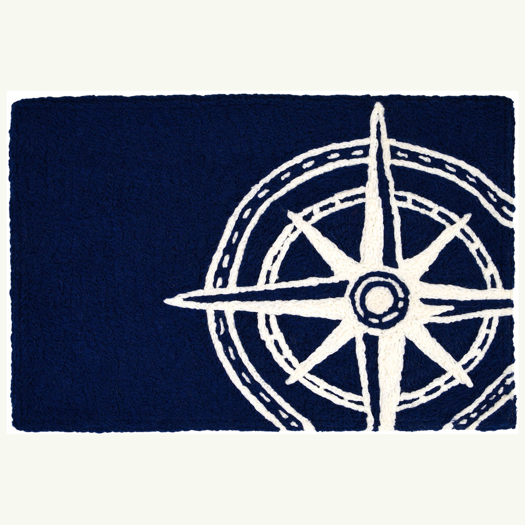 Navy Compass Nautical Accent Rug