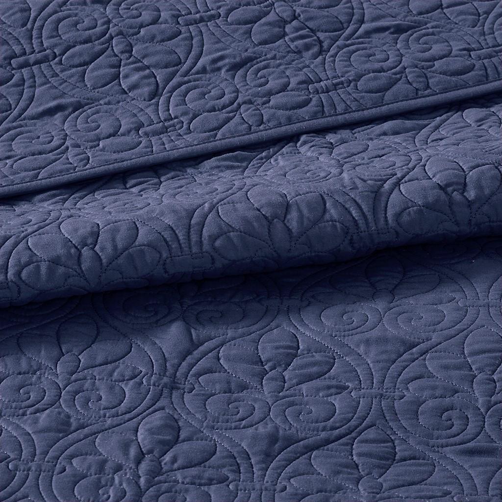Hudson Bay Navy Queen Size Coverlet Set quilt close up