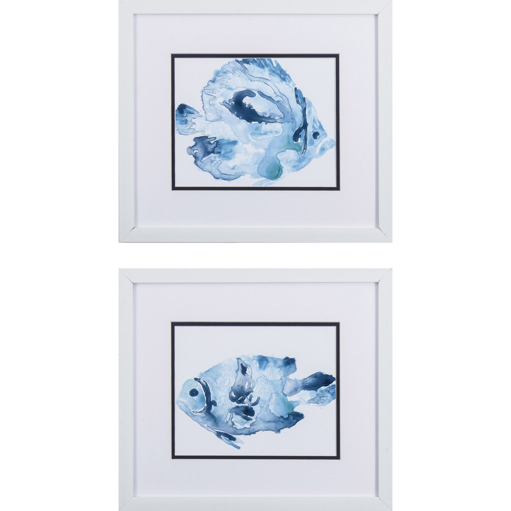 Underwater Blue Fish A Framed Art- Set of Two
