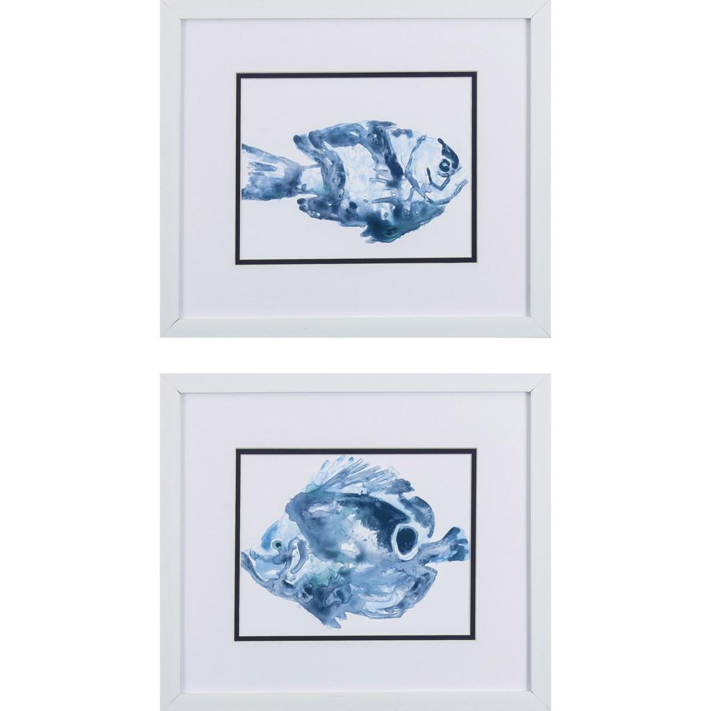 Underwater Blue Fish B Framed Art- Set of Two