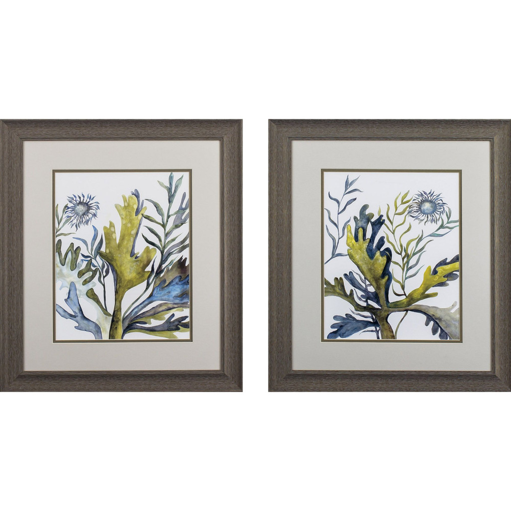 Blue and Green Under the Sea Botanical Prints - Set of Two