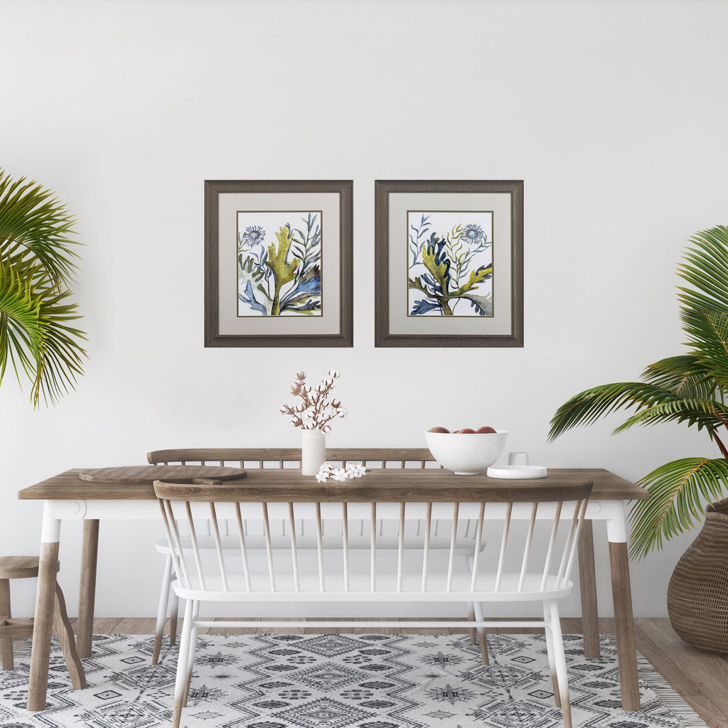 Blue and Green Under the Sea Botanical Prints - Set of Two room view