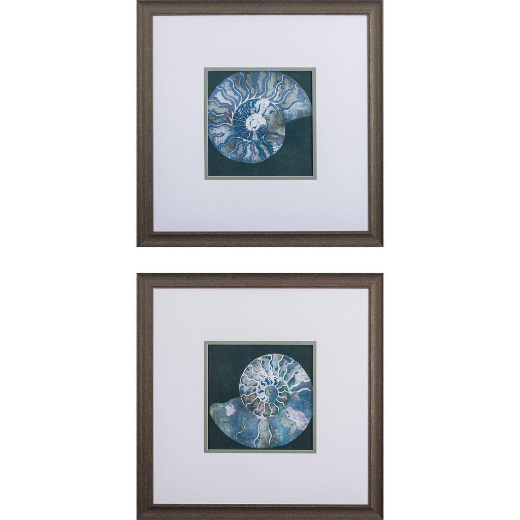 Midnight Sea Shell Prints- Set of Two