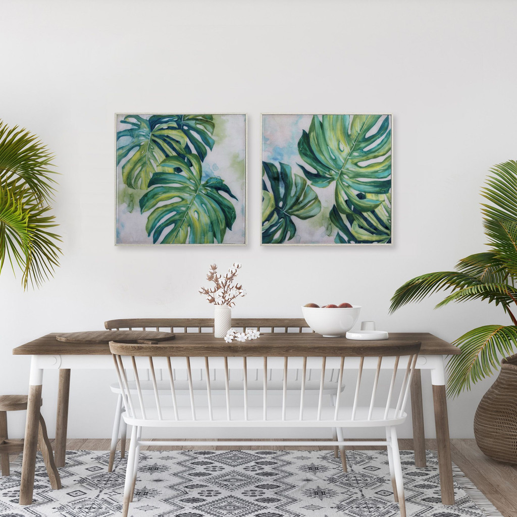 Lush Monstera Leaves Wall Art- Set of Two room view