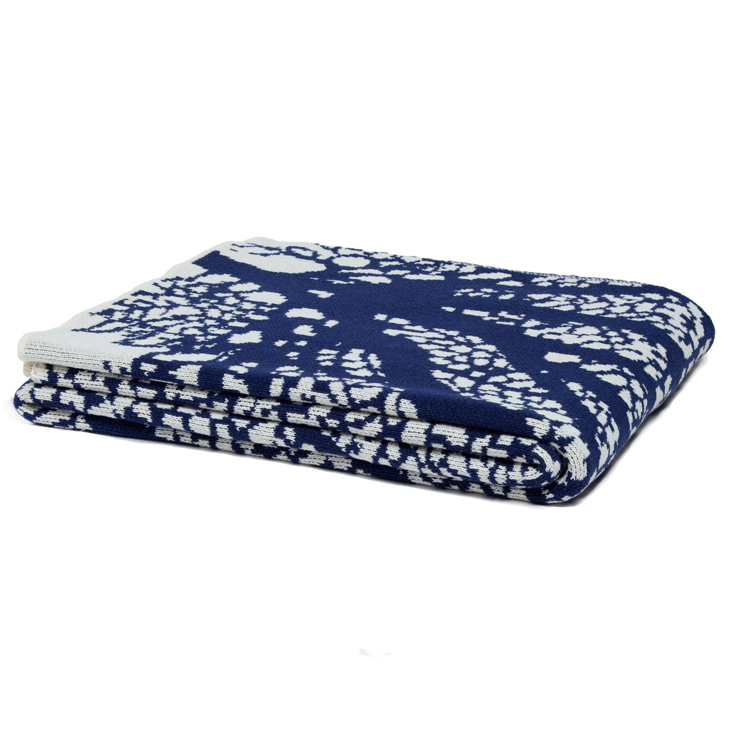 Fan Coral Knit Throw in Cream and Navy folded