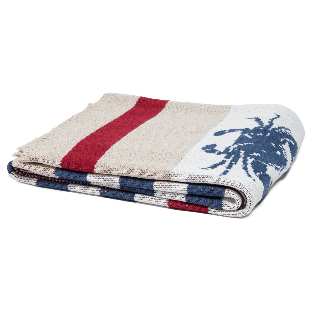 Parade of Nautical Navy and Crimson Crabs Knit Throw folded
