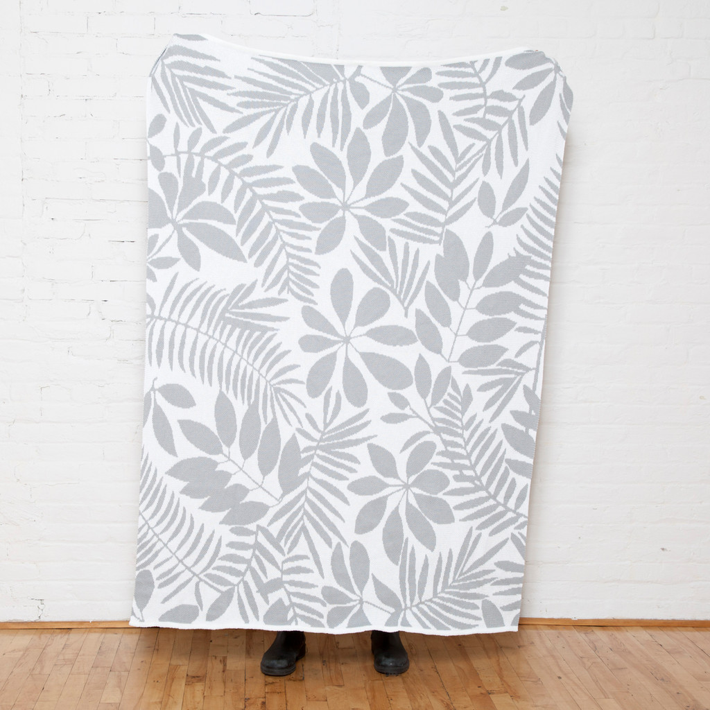 Flora Silver and White Eco-Knit Throw