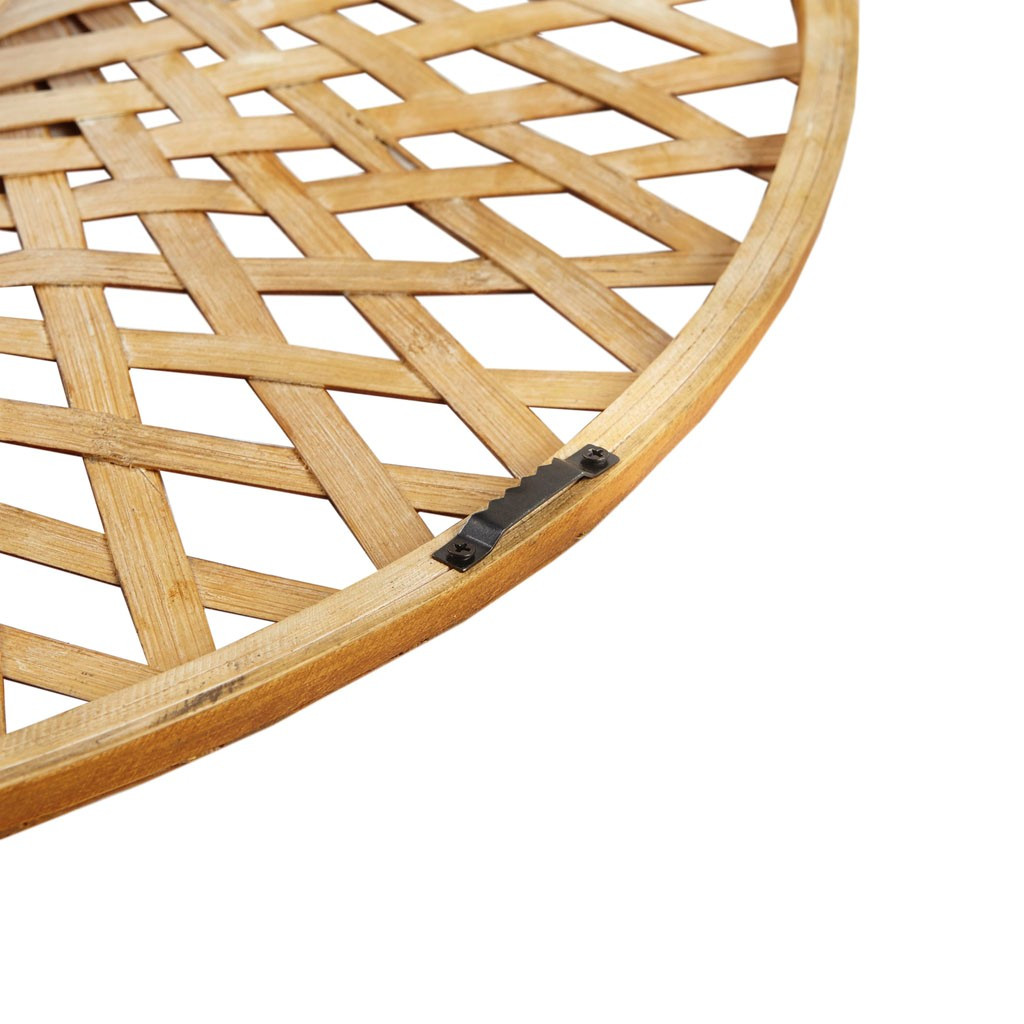 Reed Woven Round Bamboo Wall Mirror close up back of frame
