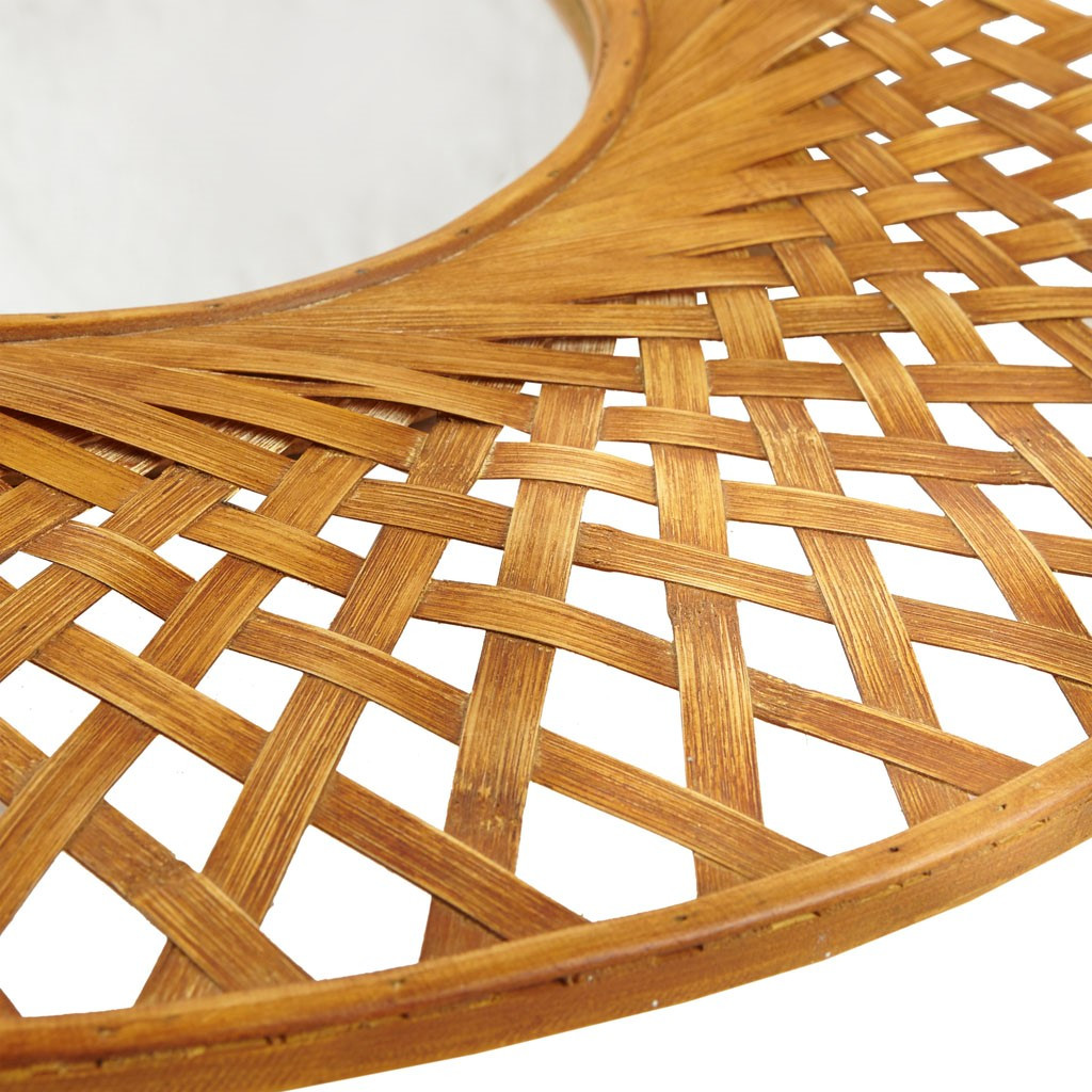 Reed Woven Round Bamboo Wall Mirror close up frame