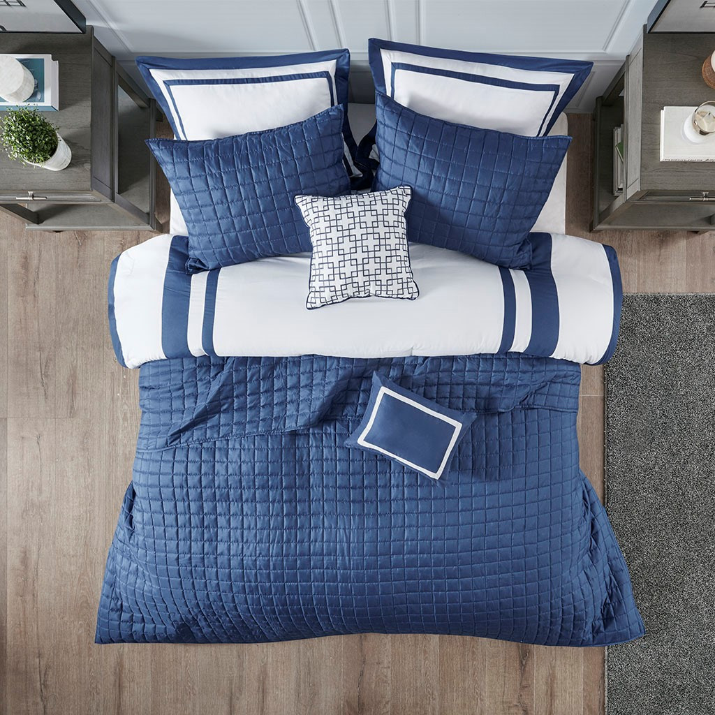 Admiralty Navy and White 8-Piece Comforter Set view 3