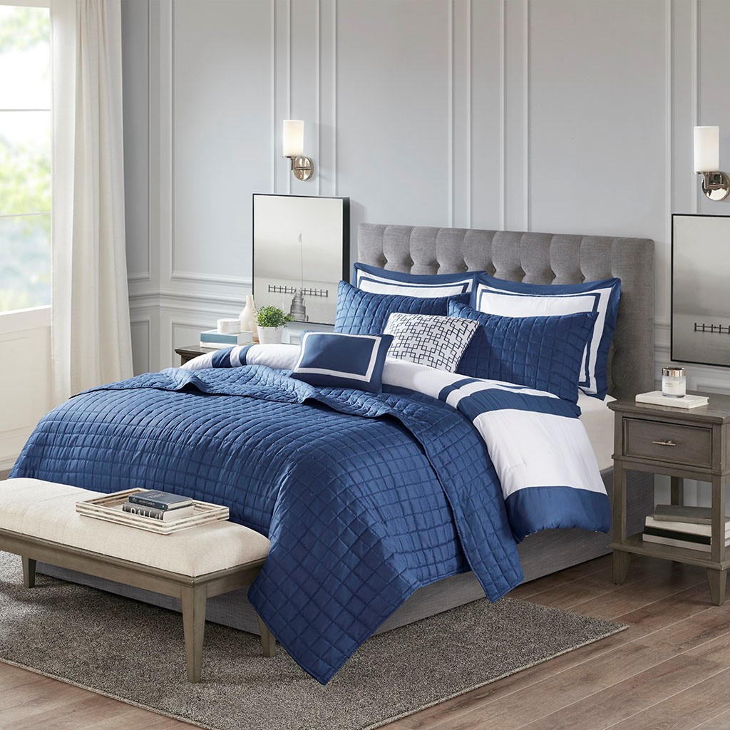 Admiralty Navy and White 8-Piece Comforter Set view 2