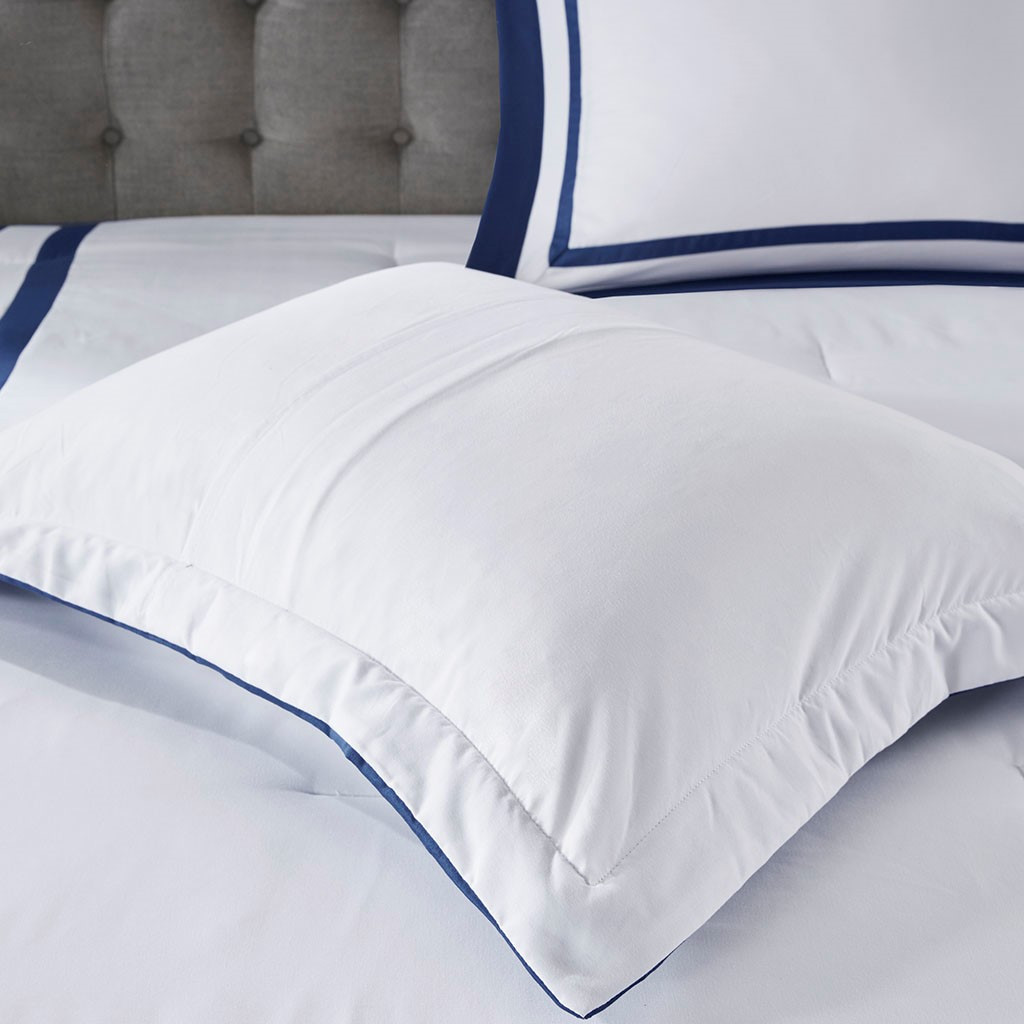 Admiralty Navy and White 8-Piece Comforter Set shams