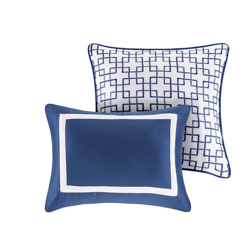 Admiralty Navy and White 8-Piece Comforter Set decorative pillows