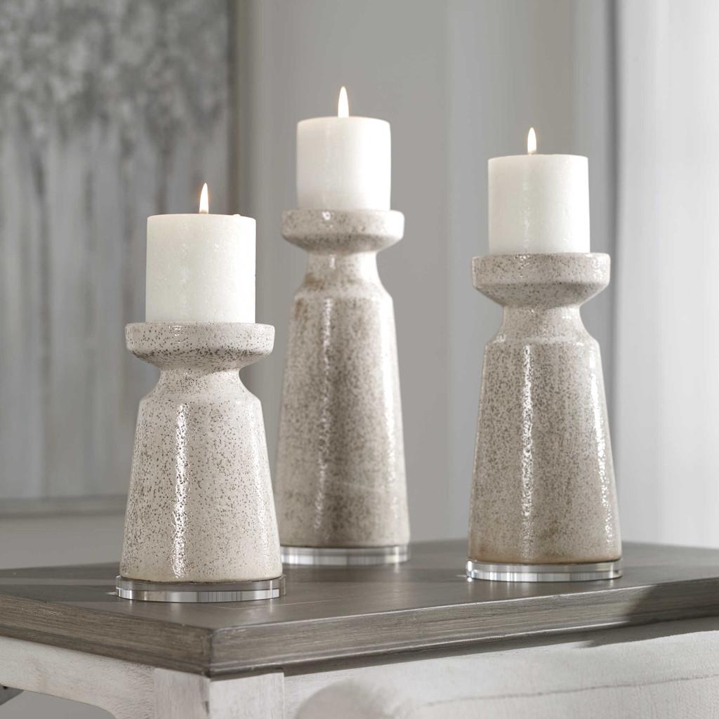 Sandy Shores Ceramic Candleholders- Set of Three lifestyle