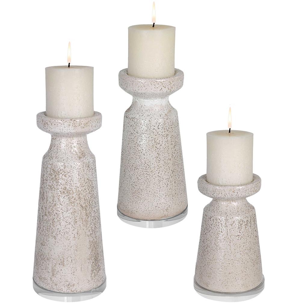 Sandy Shores Ceramic Candleholders- Set of Three