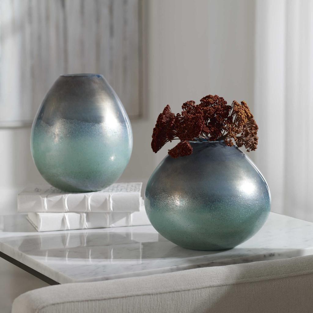 Rian Bay Aqua Bronze Glass Vases- Set of Two lifestyle