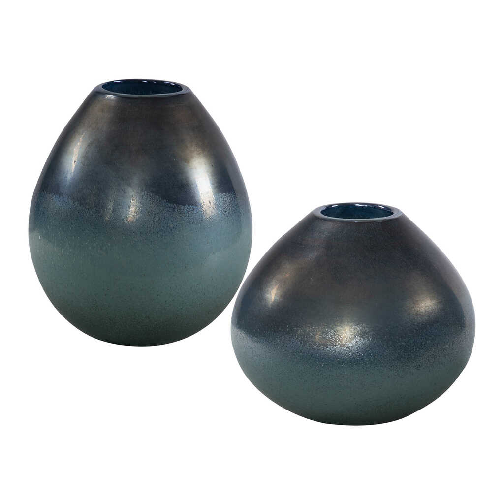 Rian Bay Aqua Bronze Glass Vases- Set of Two