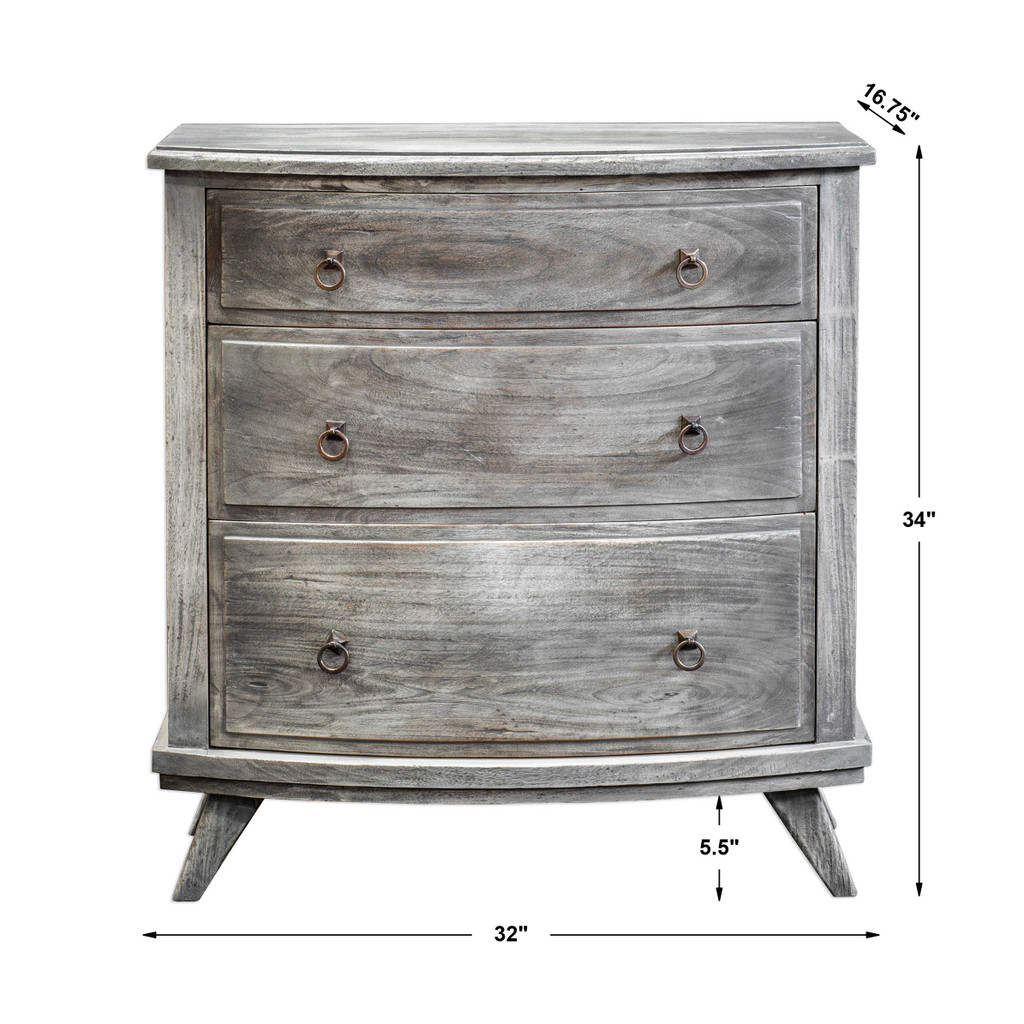 Jacoby Driftwood Accent Chest with dimensions