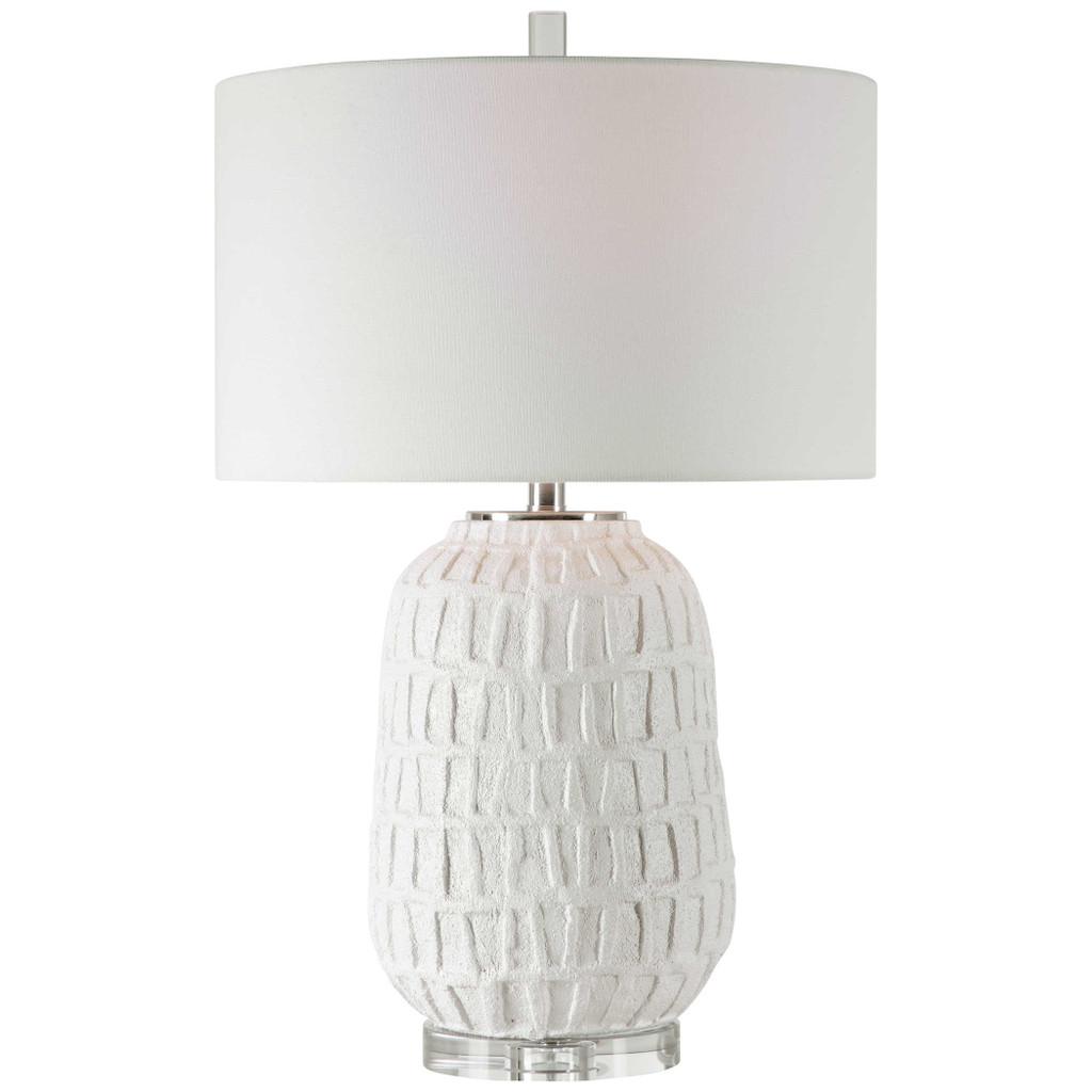 Caelina Coastal White Table Lamp light on