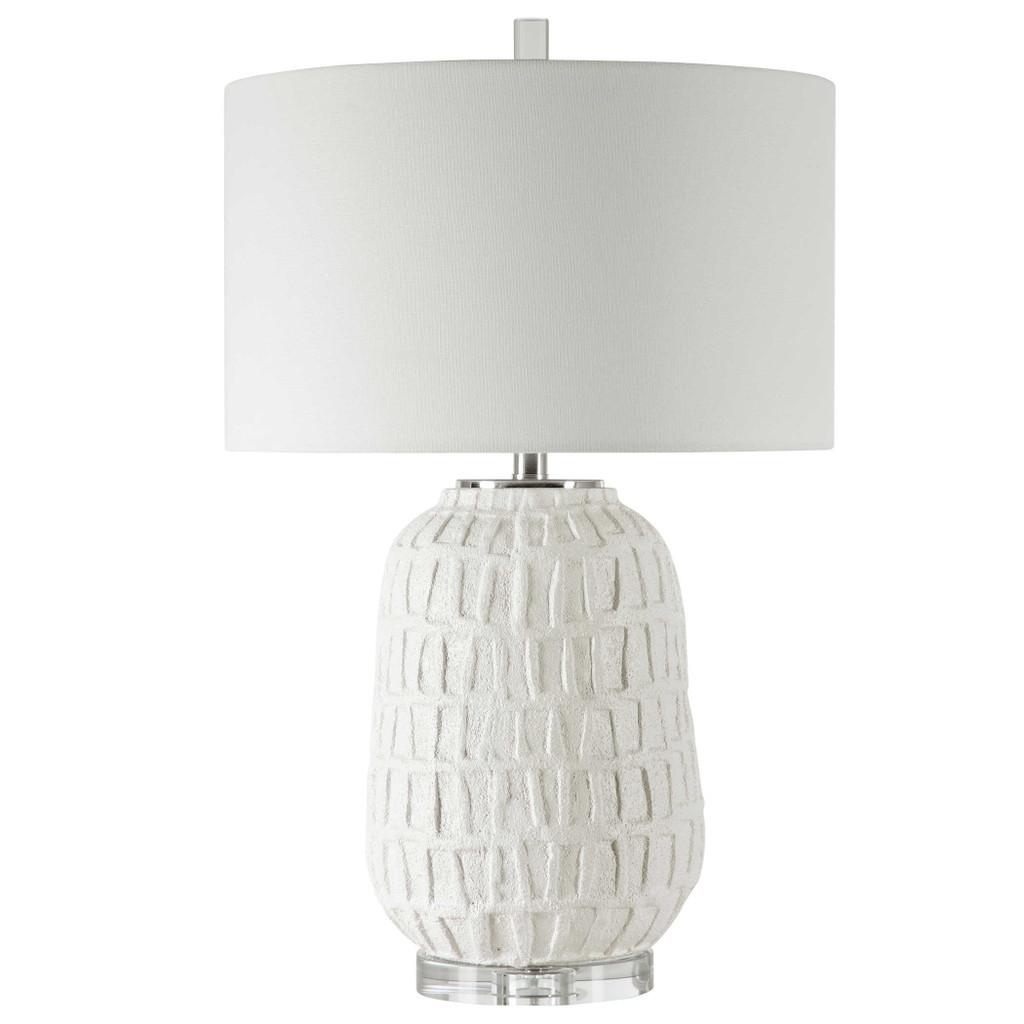 Caelina Coastal White Table Lamp light off
