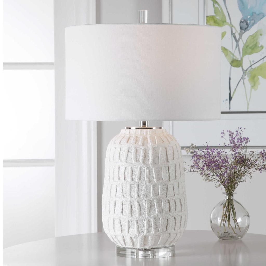 Caelina Coastal White Table Lamp lifestyle light on
