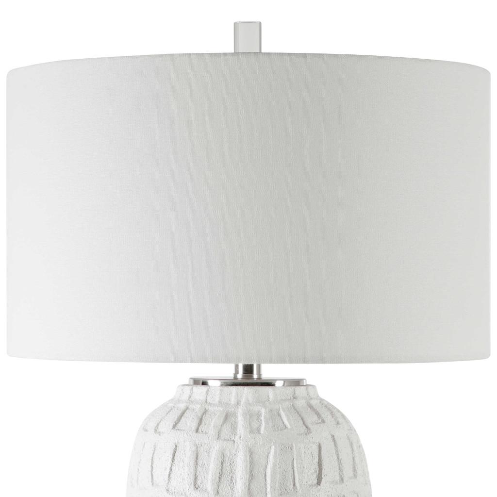 Caelina Coastal White Table Lamp close up shade 2
