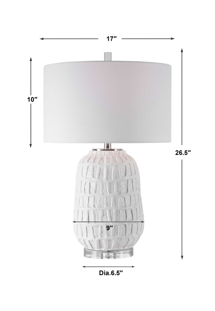 Caelina Coastal White Table Lamp with dimensions