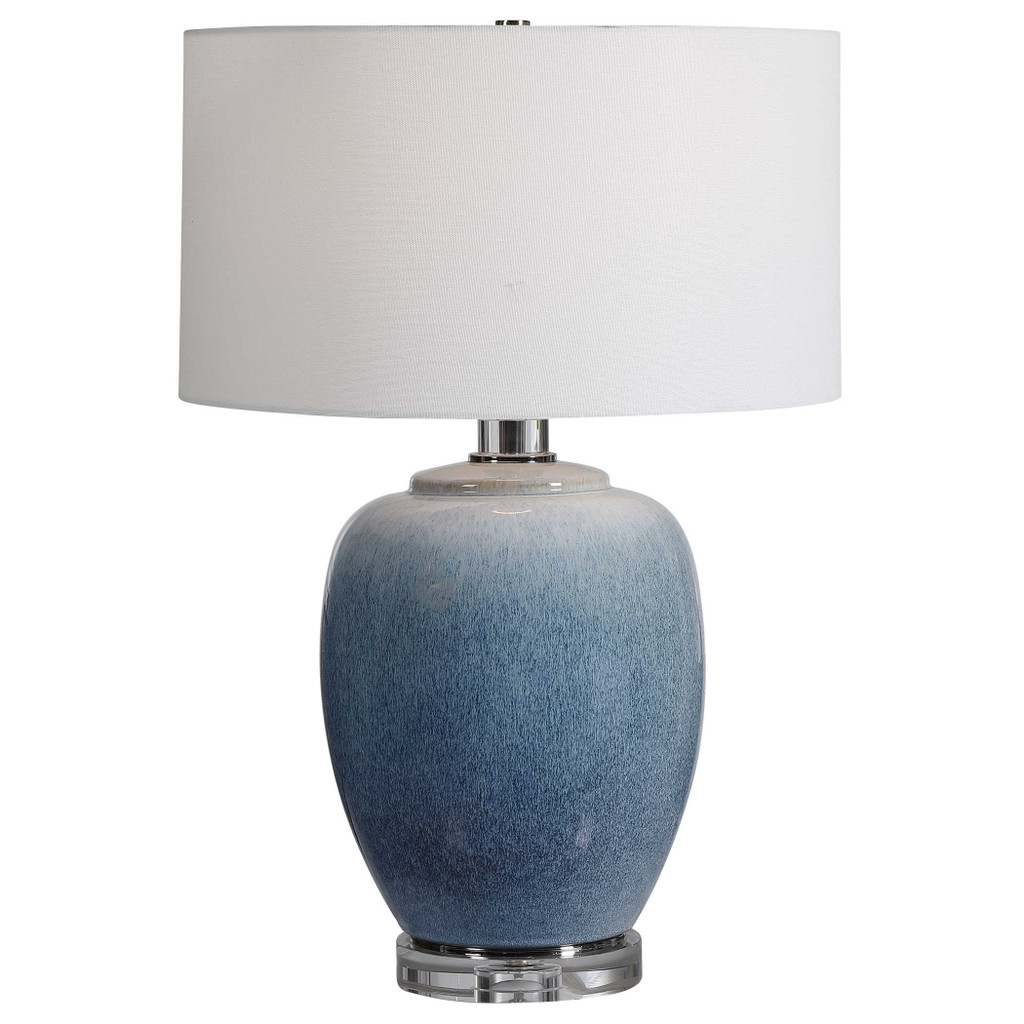 Blue Waters Ceramic Table Lamp light on