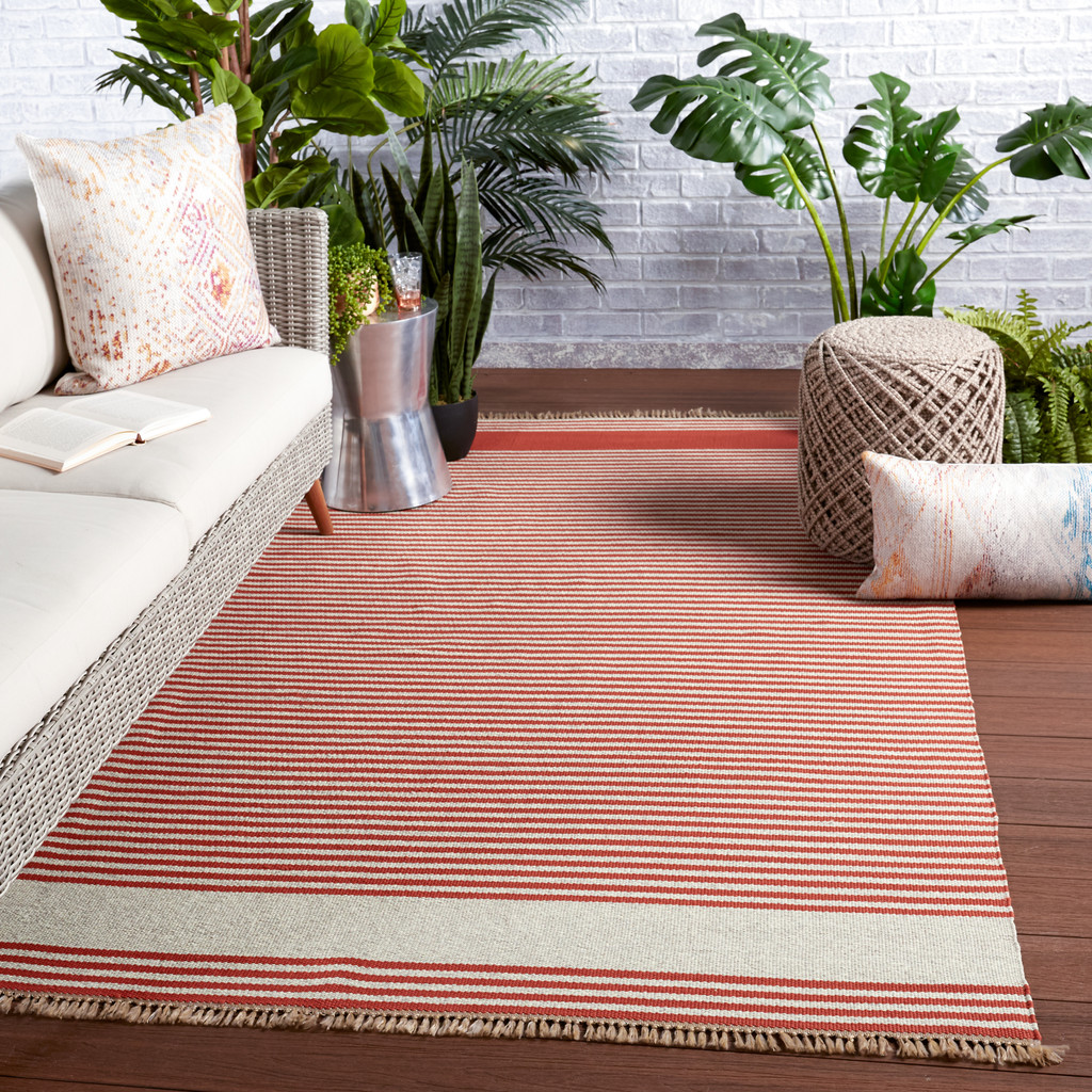 Morro Bay Red and Ivory Striped Rug room example