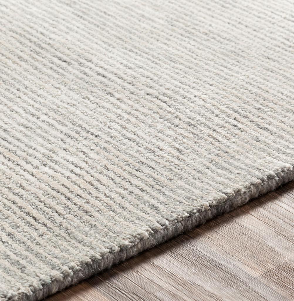 Silver Strada Wool and Viscose Rug edge