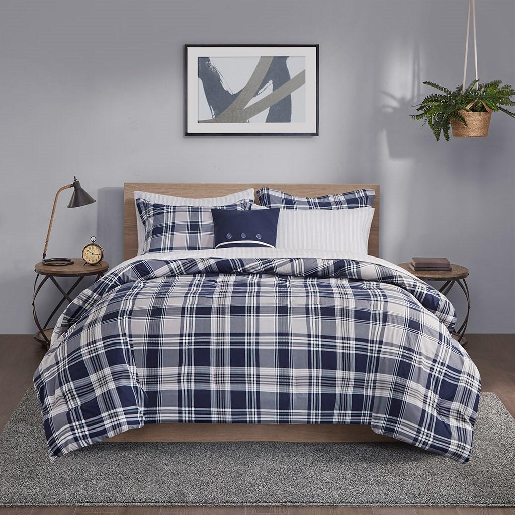 Sconset Navy Plaid 8-Piece Reversible Comforter Set view 2