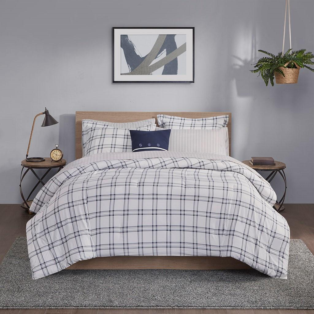 Sconset Navy Plaid 8-Piece Reversible Comforter Set view 3