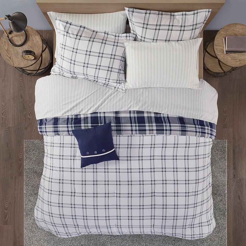 Sconset Navy Plaid 8-Piece Reversible Comforter Set view 4