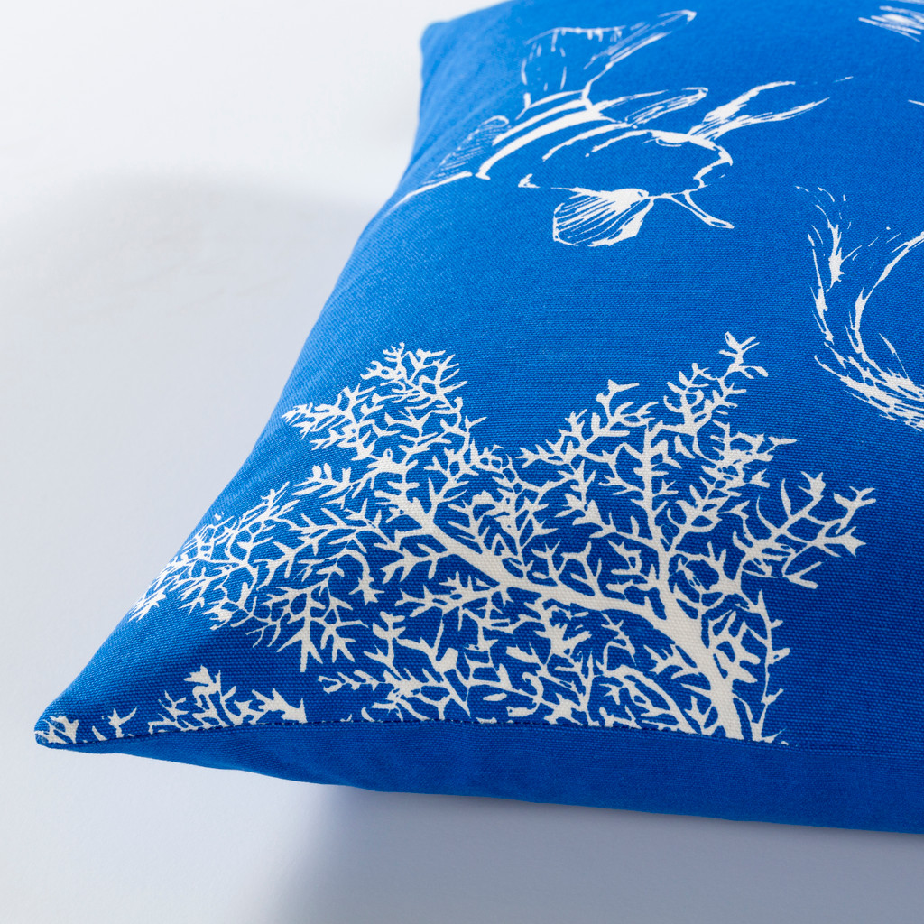 Royal Blue Under the Sea Pillow side view