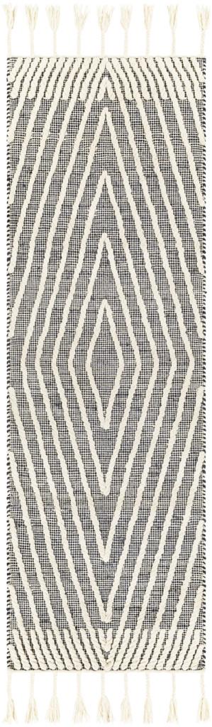 Norwood Charcoal Diamond Woven Wool and Jute Area Rug runner rug