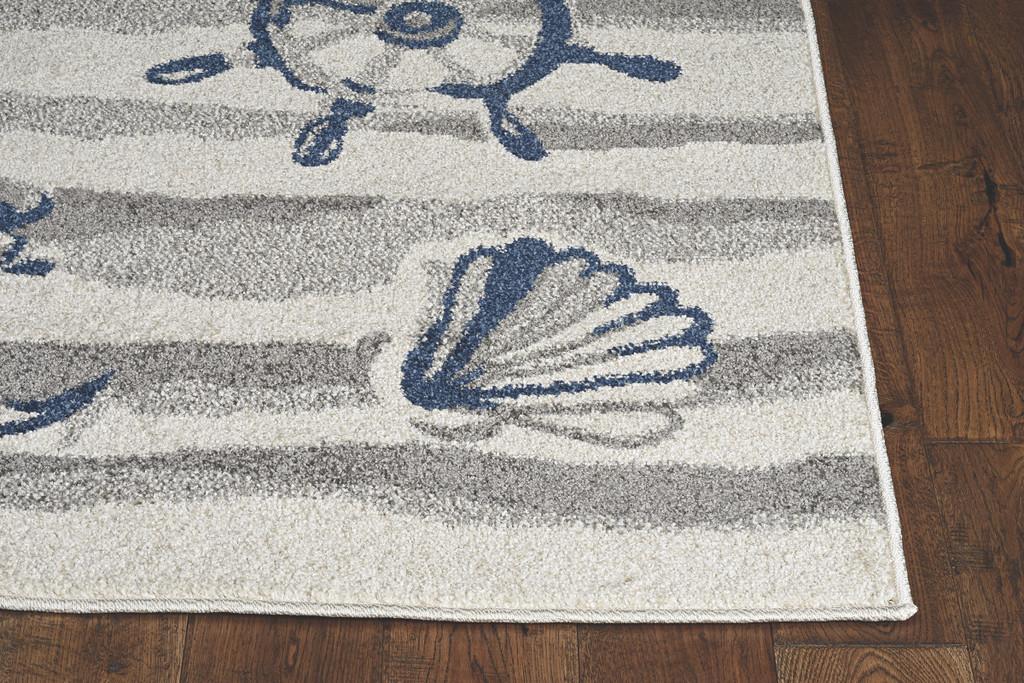 Ivory Seashore Waves Indoor-Outdoor Rug