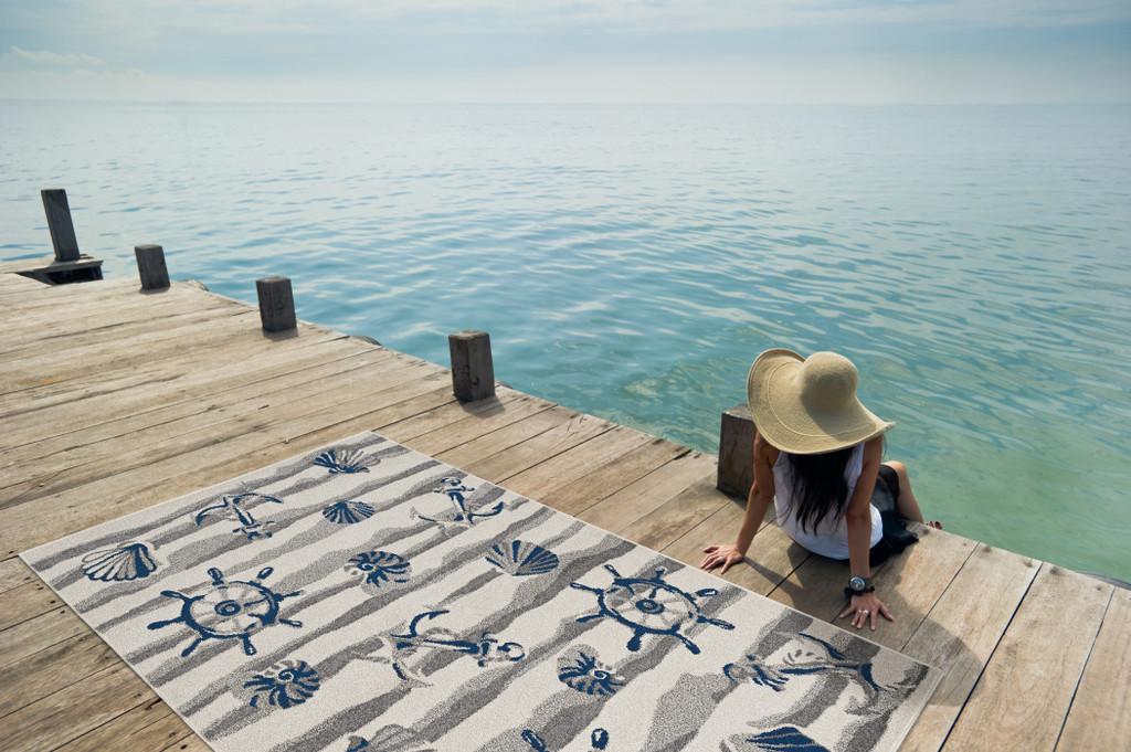 Ivory Seashore Waves Indoor-Outdoor Rug outdoor view
