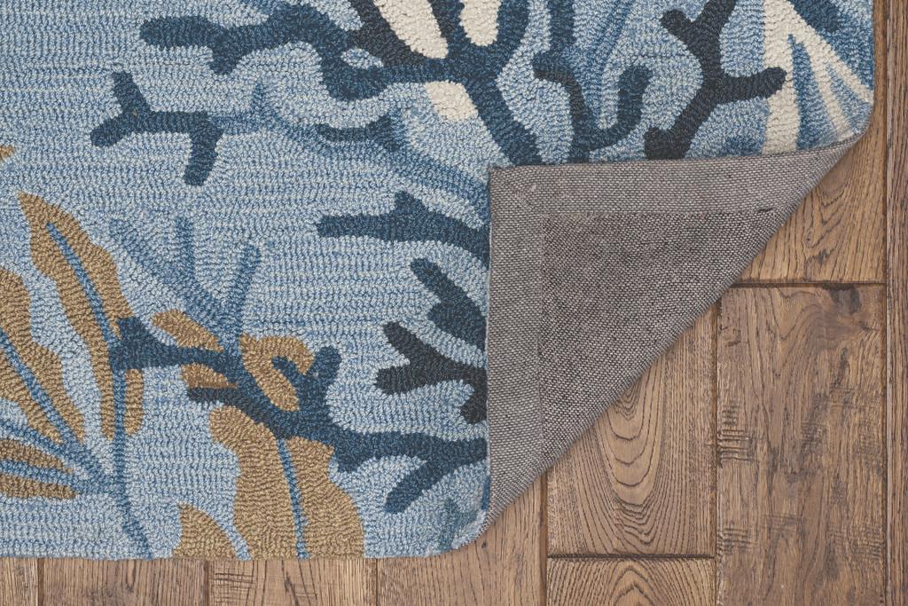 Deep Blue Lagoon Hand-Hooked Area Rug backing
