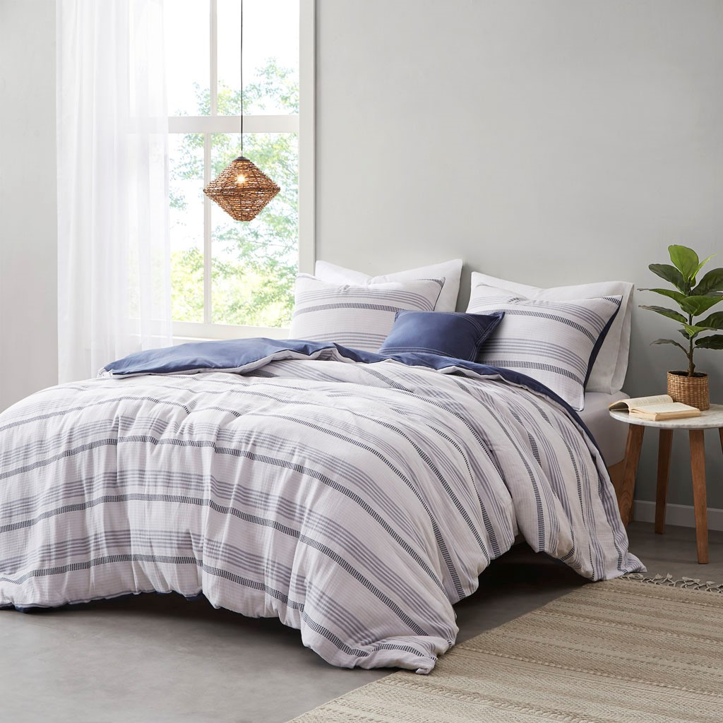 Newport 5-Piece Blue Striped Cotton Queen Comforter Set