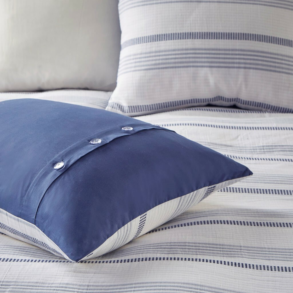 Newport 5-Piece Blue Striped Cotton Queen Comforter Set shams