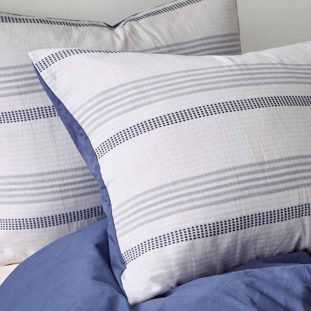 Newport 5-Piece Blue Striped Cotton Queen Comforter Set close up 2