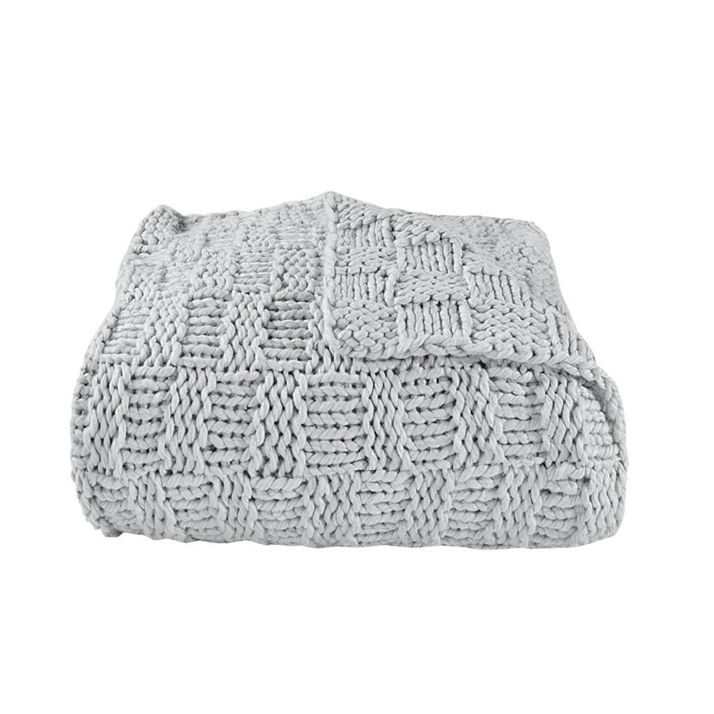 Fog Grey Chess Knit Throw