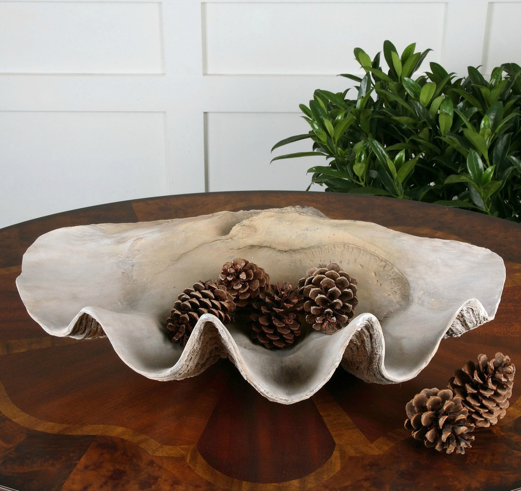 Large Faux Clam Shell Bowl