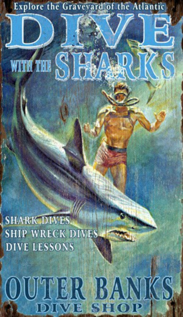 Dive with the Sharks Wall Sign